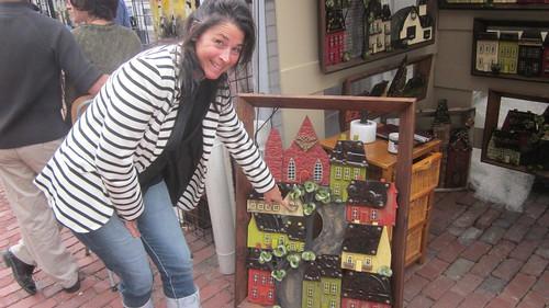 steet scene wooden houses, recycled materials, brass fittings, drawer pulls, Mylene Trepanier