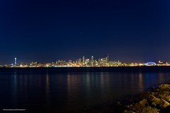 Seattle Skyline (Nick Mulcock) Tags: seattle longexposure water canon washington rocks long exposure space needle alki 5d spaceneedle mkii