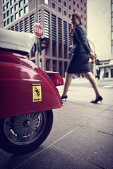 hot italian (patrickbraun.net) Tags: street city red urban italy woman rot walking italian eyecontact vespa dress wideangle scooter ferrari business sidewalk stop stadt roller frau ampel frankfurtmain rücklicht olympuspenep3 mzuikoed12mmf20 pencrossing olympusmotion