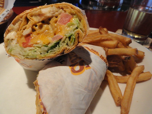 Queso chicken wrap
