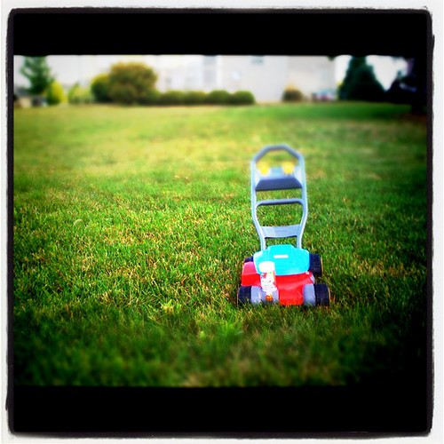 Wondering When Little L will Finish Mowing Our Yard #toys