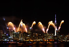World Cup Opening Ceremony (fantommst) Tags: world show newzealand cup spectacular lights cityscape fireworks harbour rugby ceremony auckland nz opening northcote 2011 waitemata flickrchallengewinner 09092011