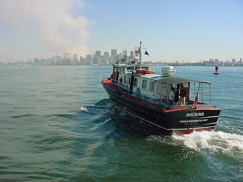 USACE Patrol Boat Hocking heads toward lower Manhattan on 9-11