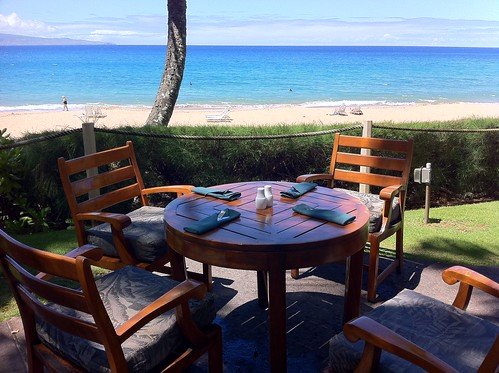 A table at The Beach House restaurant in Kapalua Maui