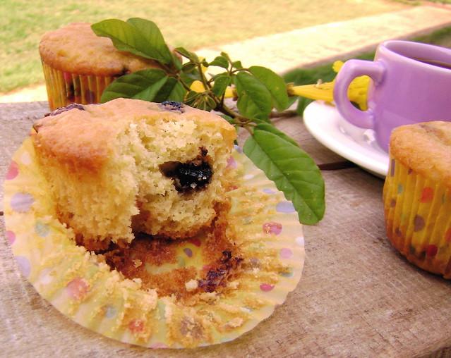 Muffins faceis de blueberry e cranberry