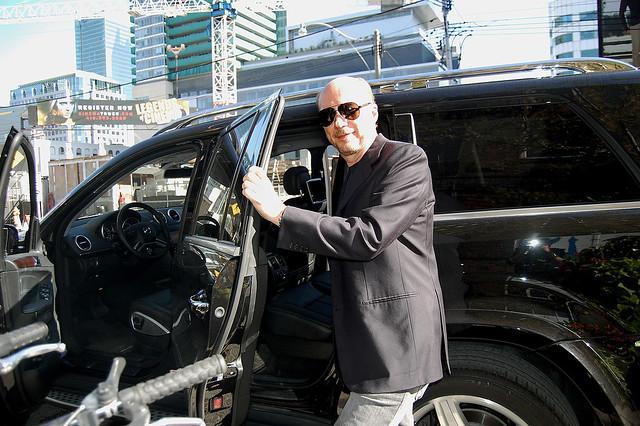 Paul Haggis gets into a Mercedes-Benz