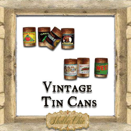 Shabby Chic Vintage tin Cans by Shabby Chics