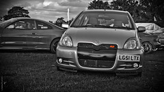 Toyota Yaris RS (peachyboii) Tags: show red blackandwhite cars japanese sony motors toyota alpha jae rs hdr jdm lightroom yaris selectivecolour wicksteed a55