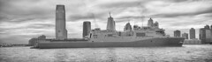 The USS NY parked in the middle of the Hudson River Sunday afternoon. (Jay Fine) Tags: blackandwhite panorama jerseycity hudsonriver hudson batteryparkcity 91111 ussny silverefexpro2