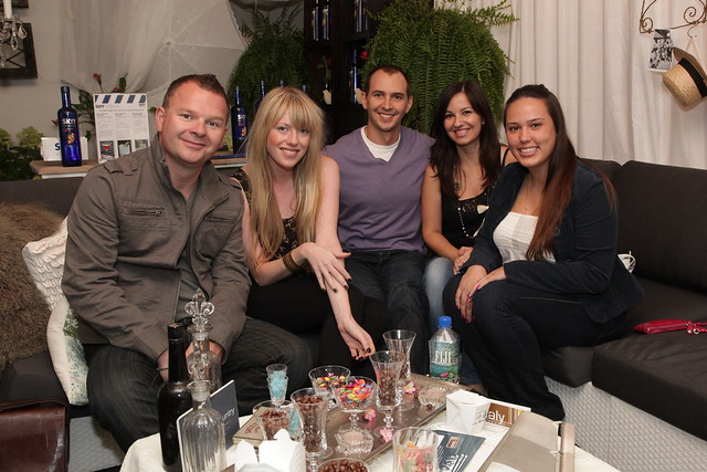 Mad Dog, Maura and the Virgin Radio contest winners in the media lounge by Sealy Design