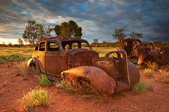 """You can hear them Rusting"" (Explored) (Nolan Caldwell) Tags: sunset car canon nt australia thecentre relic northernterritory centralaustralia eos30d the4elements bestofaustralia"