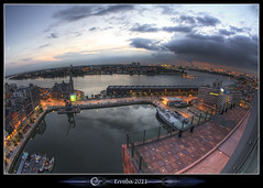 Mas - Docks and Schelde river nightfall. (Erroba) Tags: city night docks canon river lights mas belgium belgique harbour belgi sigma fisheye antwerp schelde erlend antwerpen offices cafs anvers overview 10mm linkeroever 60d museumaandestroom erroba robaye