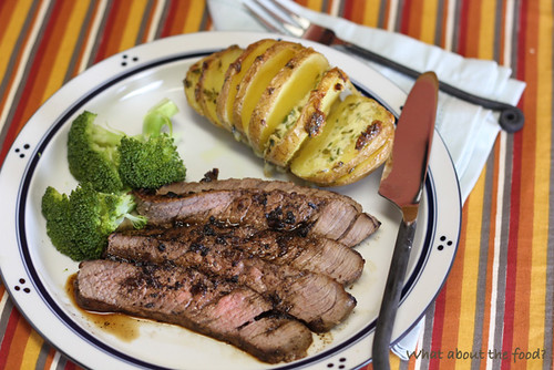 Steak with Herbed & Sliced Baked Potato