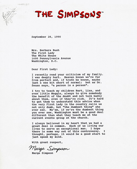 Letters of Note With great respect Marge Simpson