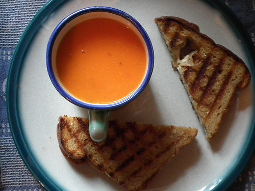 roasted tomato soup and grilled Daiya cheese sandwiches
