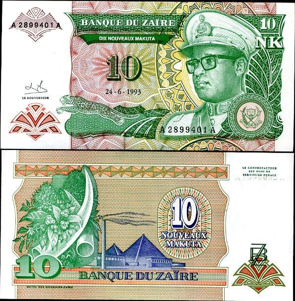 10 Noveaux Makuta Zair 1993, Pick 49