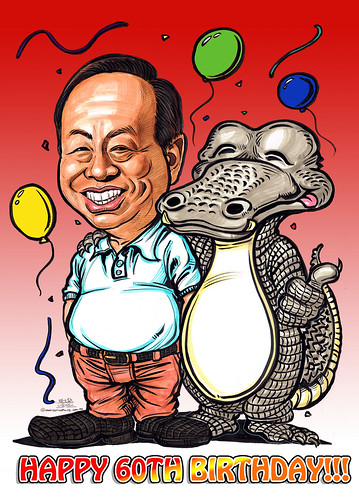 Birthday caricature for Heng Long with crocodile - gradient red