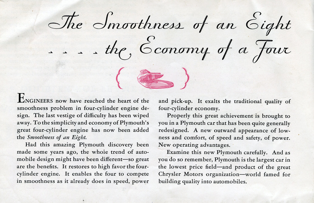 Plymouth with Floating Power and Free Wheeling, 1931 - Promotional Brochure (inner fold)
