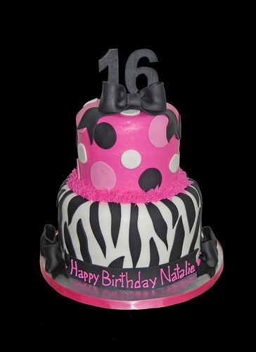 16th birthday black and pink zebra print with bows