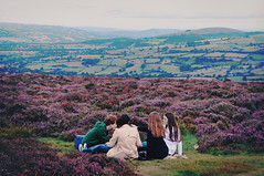 Picnics on hillsides (Ella Ruth) Tags: blue friends sky people green nature vintage landscape outside outdoors picnic sitting shropshire purple heather group peaceful calm retro hills gathering 365 midlands