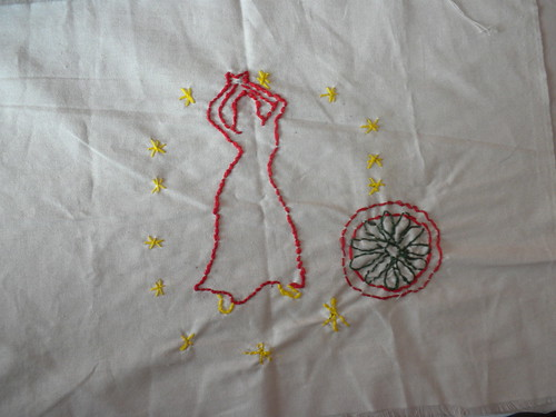 Leona created this silhouette of a dancing Roma woman surrounded by the stars of the European Union with the wheel of the Roma incorporated into this circle. She told me that she just wants to be included, and that it is not only a Czech problem, but a European problem.