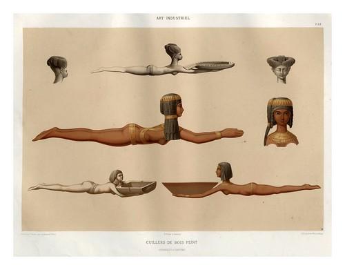015-Cucharas de madera pintada-Histoire de l'art égyptien 1878- Achille Constant Théodore Émile