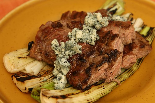 Grilled Skirt Steak and Leeks with Blue Cheese