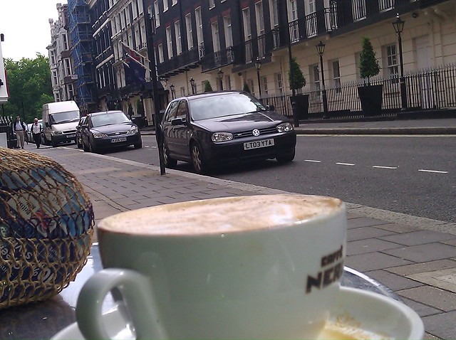 Looking up Half Moon Street in London from the cafe at the end of the street.