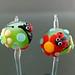 Earring Pair : Ladybug Green Flower Blossom