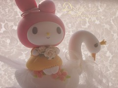 My melody (charles fukuyama) Tags: cute rabbit bunny miniature swan handmade lace anniversary bouquet caketopper lovely dollhouse sculpted cakedecoration mymelody claydoll