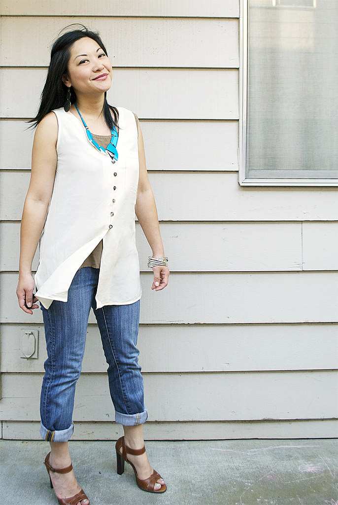Cream Silk Sleeveless Top - Rolled Jeans - BCBG Heels - Vintage Turquoise Necklace