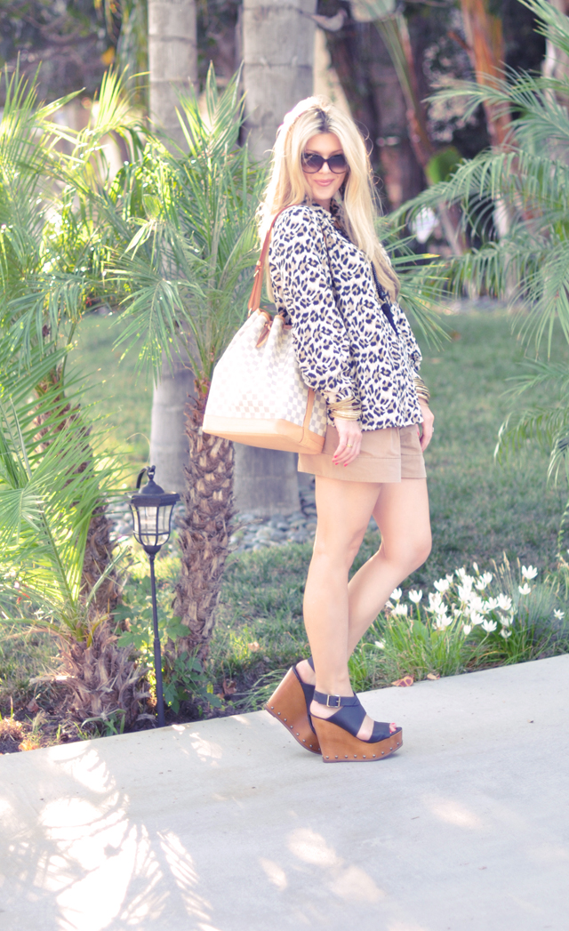 leopard blouse + taupe shorts+wooden wedges+louis vuitton+long straight hair