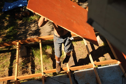 Construction ballet, Mike carrying 3/4 inch plywood to place on the deck, Broadview, Seattle, Washington, USA by Wonderlane