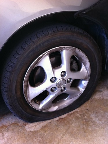 Pic One Of My 4 Deflated Tires Total Of 8 Flat Tires Which Had All