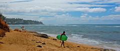 Solitary Surfer (jcc55883) Tags: ocean sky clouds hawaii sand nikon oahu surfer pacificocean kaalawaibeach nikond40 diamondheadroad kuileicliffs