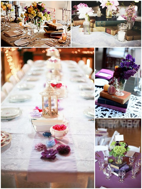 eco-friendly wedding centerpiece, book centerpieces