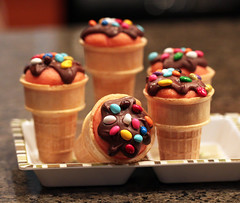 Chocolate topped Strawberry Cone Cupcakes (IrishMomLuvs2Bake) Tags: food orange baby ice cakes beer cake dark shower cupcakes cookie candy cone chocolate dough devils airplanes cream straw desserts watermelon butter peanut sweets root frosting mousse