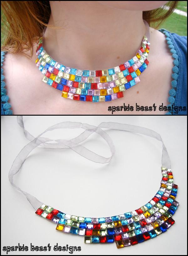 Pixel Rhinestone Collar Necklace