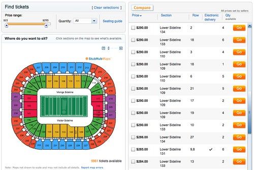 Vikings vs Lions StubHub Prices