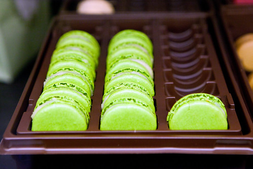 Tray of green apple macarons