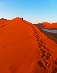 Still a long way to plough through the sand..... (missnoma) Tags: africa travel light sun holiday colour sand dunes lookingup namibia climbers sossusvlei bigdaddy longwaytogo afterdawn nearsossusdunelodge