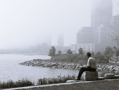 Contemplating the Fog (syncros) Tags: mist lake toronto ontario fog bay humber splittoned fogto