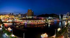Mid-Autumn Festival @ Clarke Quay (Marvin) Tags: longexposure bridge light colors bar river restaurant boat nikon singapore bluehour lanternfestival slingshot touristspot clarkequay midautumnfestival centralmall bangee xtremeswing d7000 reversebangee