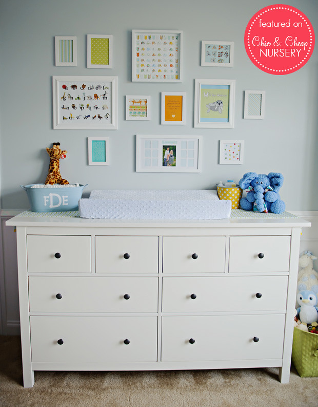 Changing Table and Wall Art in Blue and White Classic Boy Nursery