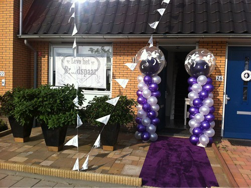 Ballonpilaar Breed Rond Paars Wit Love Doves
