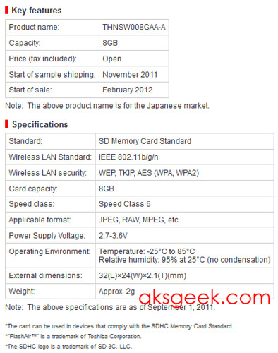 Toshiba FlashAir SDHC specs