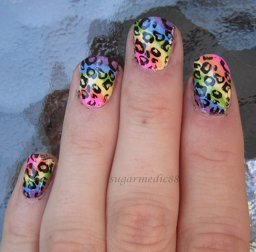 Lisa Frank Inspired Rainbow Leopard Print Nails