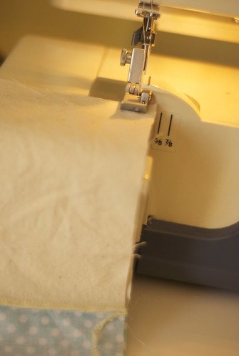 Sewing the sides of the bag