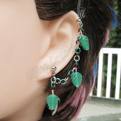 Green, brown and silver leaf cartilage chain earring
