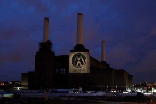 Large projection for VW action at Battersea Power Station